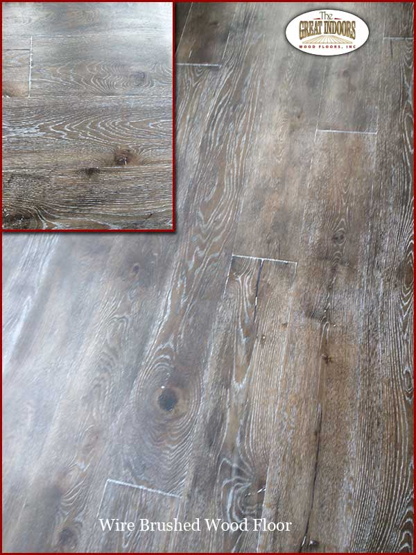 Close Up Photo Of The Grain Patterns In A Wire Brushed Hardwood Floor