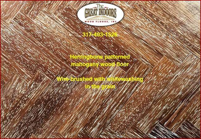 Wire Brushed Mahogany Herringbone Wood Floor With Whitewashed Grain