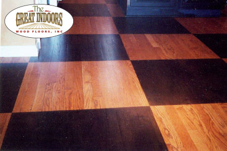 Checkerboard Pattern On A Hardwood Floor Created With Wood Stain